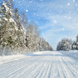 Road in a countryside in sunny winter day. Classic snow covered — Stock Photo