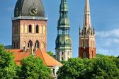 Latvian church towers in Riga — Stock Photo