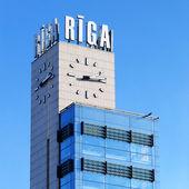 Riga stazione centrale torre dell'orologio — Foto Stock