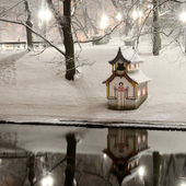 Snow on trees in Riga park and chinese house — Stock Photo