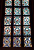 Stained glass windows in old Gothic church — Stock Photo