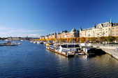 Wide view on the harbor part of Stockholm city. Sweden — Stock Photo