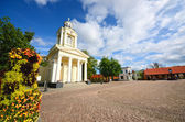 Ventspils old city part. Catholic church and general view — Stock Photo
