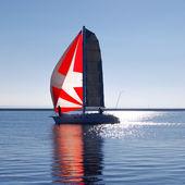 White yacht sailing — Stock Photo