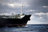 Cargo ship's bow heading forward — Stock Photo