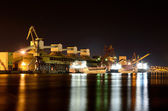 Cargo port by night. Ventspils terminal, Latvia — Stok fotoğraf