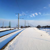 Frozen railway line in winter — Stock Photo