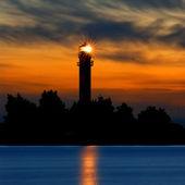 A lighthouse shining at late evening. Riga, Latvia — Stock Photo