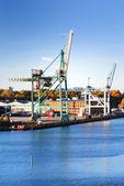 Cargo cranes at the port — Photo