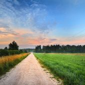 Sunrise at the field with a rural road — Foto Stock