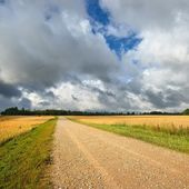 Road and cereal field against dark stormy clouds — Foto de Stock