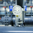 Stock Photo: Industrial barometer in boiler room