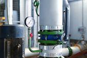 Industrial barometer in boiler room — Stock Photo