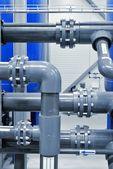 Plastic pipes in industrial boiler room — Stock Photo