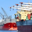 Cargo ships loading in cargo terminal — Stock Photo #38697455