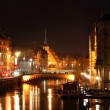 Water chanel and streets in Strasbourg at night — Stock Photo #38697547