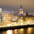 Stock Photo: Night winter scene in Riga, Latvia