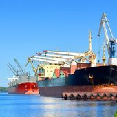 Cargo ships loading — Stock Photo