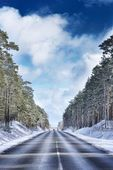 Automobile road in winter forest — Stock Photo