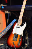 Electric guitar and other musical equipment — Stock Photo