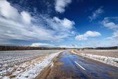Estrada na zona rural no inverno. — Fotografia Stock