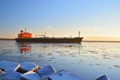 Nákladní loď plující v rize — Stock fotografie
