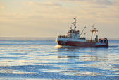 Frozen fishing vessel in   port — Stock Photo