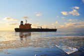 Cargo ship  sailing in  Riga — Foto Stock