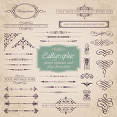 Calligraphic design elements and page decoration set 1 — Stock Vector