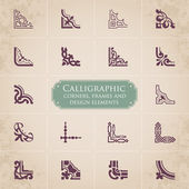 Calligraphic corners, frames and design elements set 1 — Stock Vector
