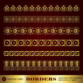 Borders seamless decorative elements in gold set 1 — Stock Vector