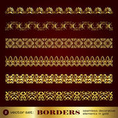 Borders seamless decorative elements in gold set 2 — Stock Vector