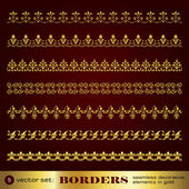 Borders seamless decorative elements in gold set 5 — Stock Vector