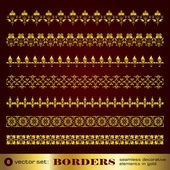 Borders seamless decorative elements in gold set 6 — Stock Vector