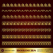Borders seamless decorative elements in gold set 3 — Stock Vector