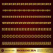 Borders seamless decorative elements in gold set 7 — Stock Vector