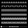 Decorative borders isolated on black background - set 2 — Stock Vector