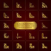 Calligraphic corners, frames and design elements in gold - set 1 — Stock Vector
