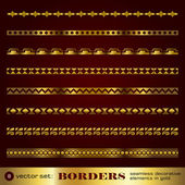 Borders seamless decorative elements in gold set 8 — Stock Vector