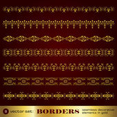 Borders seamless decorative elements in gold set 9 — Stock Vector