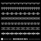 Decorative borders isolated on black background - set 9 — Stock Vector
