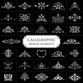 Calligraphic design elements isolated on black background - set 1 — Stock Vector