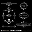 Calligraphic elements for design and page decoration isolated on black background - set 1 — Stock Vector