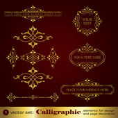 Calligraphic elements for design and page decoration in gold - set 1 — Stockvektor