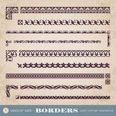 Borders with corner elements - set 1 — Stock Vector