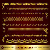 Borders with corner elements in gold - set 2 — Vector de stock
