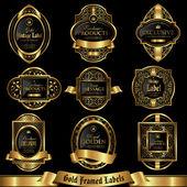 Gold framed labels set 6 — Stock Vector