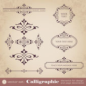 Calligraphic elements for design and page decoration - set 1 — Stock vektor