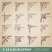 Calligraphic corners, frames and decorative elements — 图库矢量图片