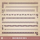 Borders with corner elements - set 3 — Stock Vector
